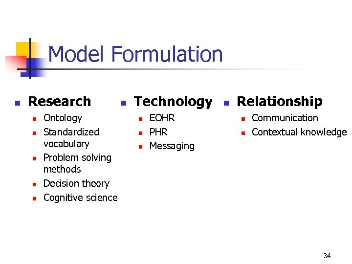 Model Formulation n Research n n n Ontology Standardized vocabulary Problem solving methods Decision