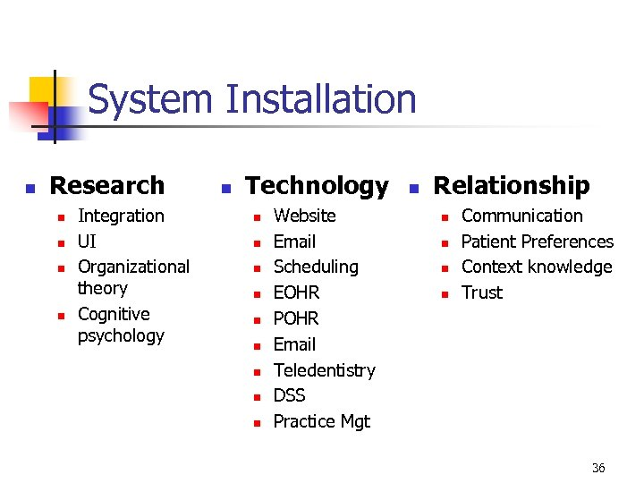 System Installation n Research n n Integration UI Organizational theory Cognitive psychology n Technology