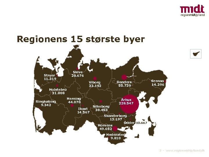 Regionens 15 største byer Struer 11. 319 Skive 20. 676 Holstebro 31. 808 Ringkøbing