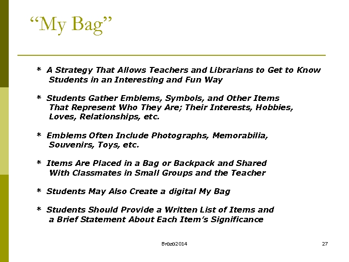 """My Bag"" * A Strategy That Allows Teachers and Librarians to Get to Know"