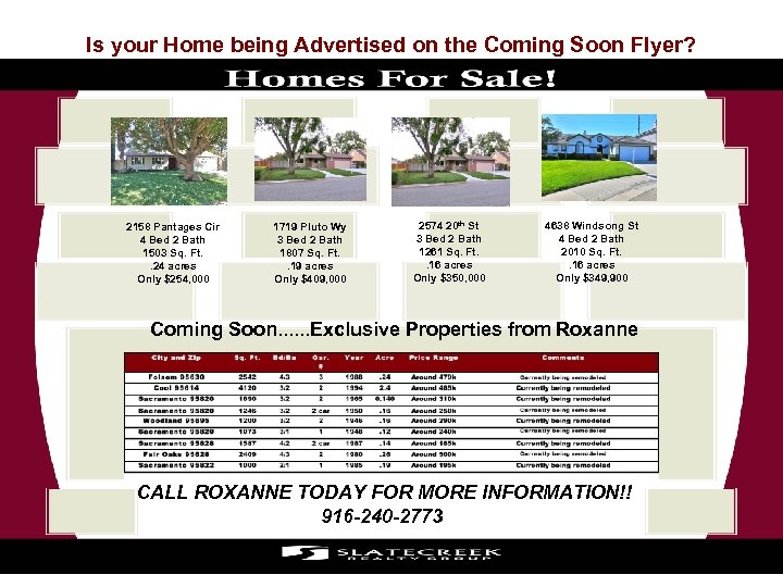 Is your Home being Advertised on the Coming Soon Flyer? 2158 Pantages Cir 4