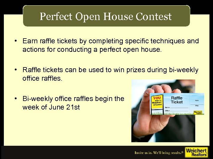 Perfect Open House Contest • Earn raffle tickets by completing specific techniques and actions