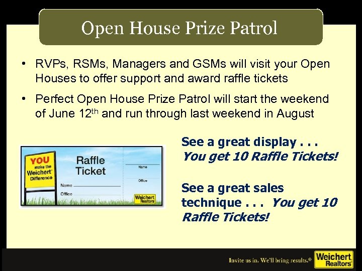 Open House Prize Patrol • RVPs, RSMs, Managers and GSMs will visit your Open