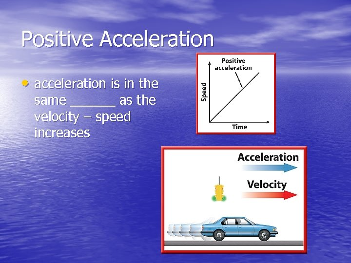 Positive Acceleration • acceleration is in the same ______ as the velocity – speed