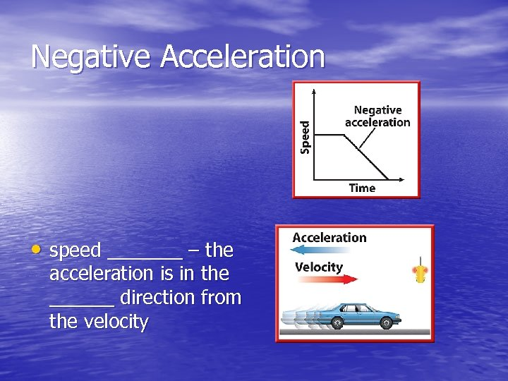 Negative Acceleration • speed _______ – the acceleration is in the ______ direction from