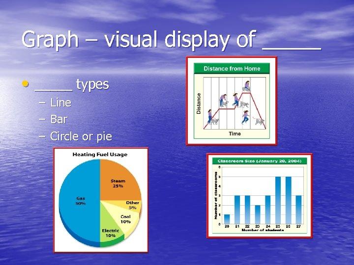 Graph – visual display of _____ • _____ types – – – Line Bar