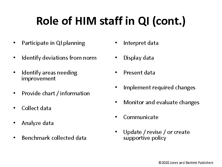 Role of HIM staff in QI (cont. ) • Participate in QI planning •