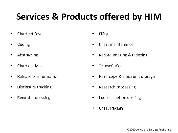 Services & Products offered by HIM • Chart retrieval • Filing • Coding •
