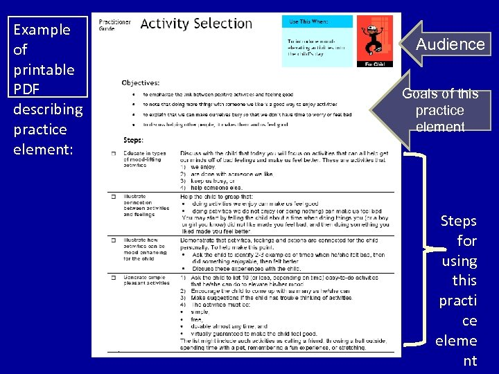 Example of printable PDF describing practice element: Audience Goals of this practice element Steps