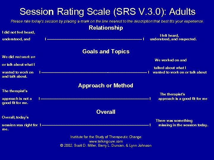 Session Rating Scale (SRS V. 3. 0): Adults Please rate today's session by placing