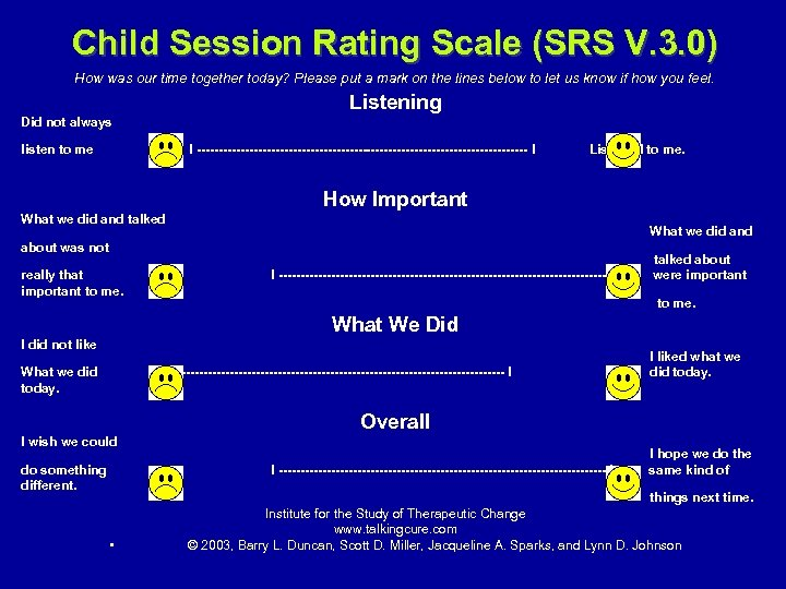 Child Session Rating Scale (SRS V. 3. 0) How was our time together today?