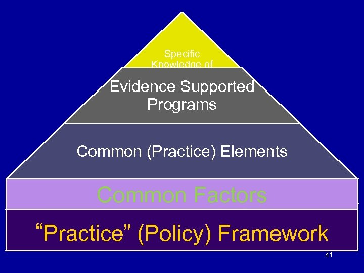 Specific Knowledge of Problem & Solutions Evidence Supported Programs Common (Practice) Elements Common Factors