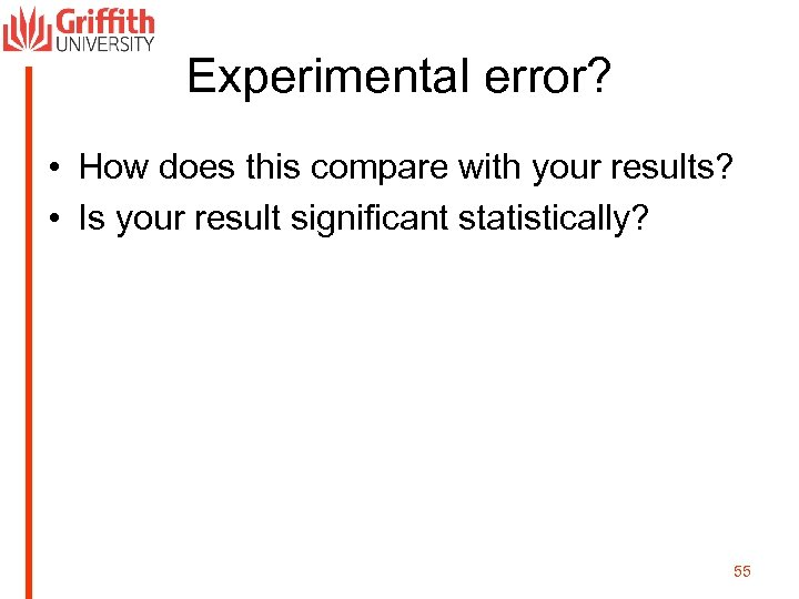 Experimental error? • How does this compare with your results? • Is your result