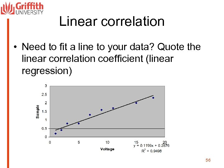 Linear correlation • Need to fit a line to your data? Quote the linear