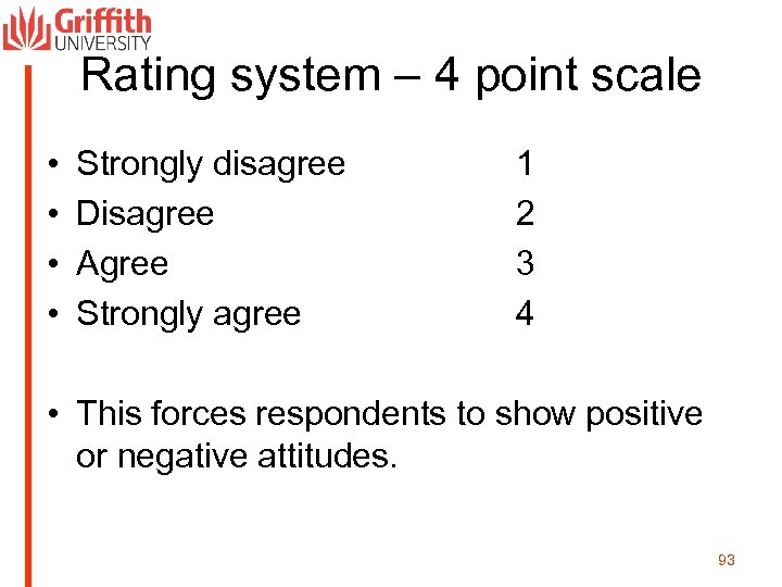 Rating system – 4 point scale • • Strongly disagree Disagree Agree Strongly agree