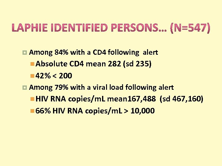 Among 84% with a CD 4 following alert Absolute CD 4 mean 282