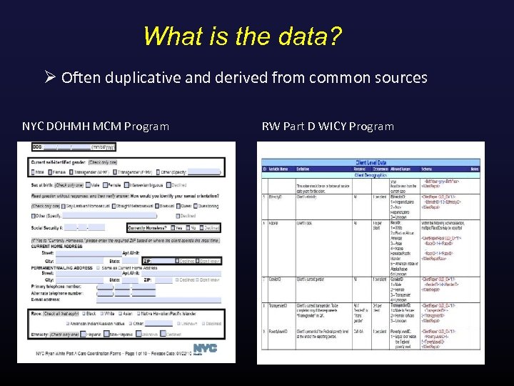 What is the data? Ø Often duplicative and derived from common sources NYC DOHMH
