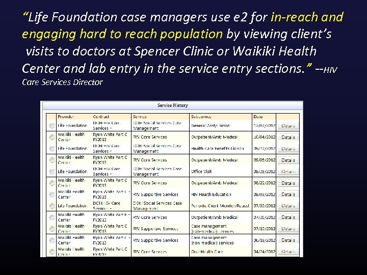 """""""Life Foundation case managers use e 2 for in-reach and engaging hard to reach"""