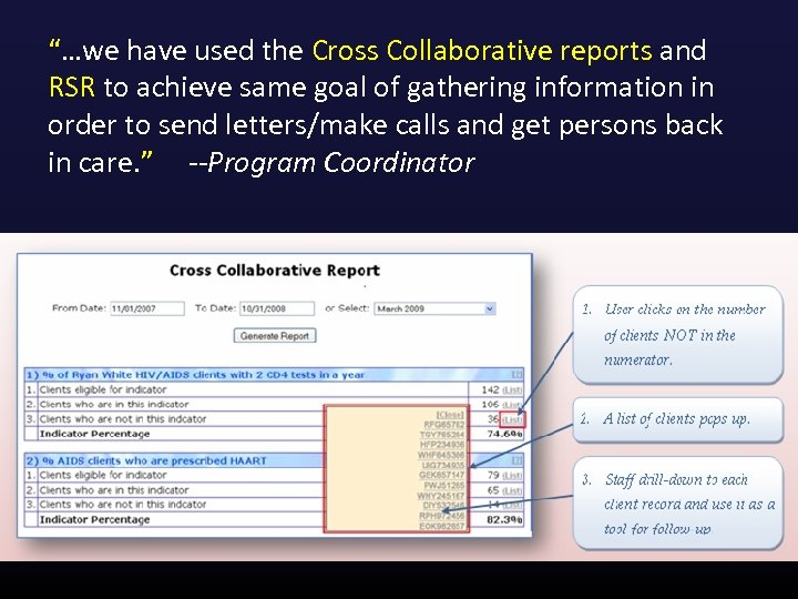 """""""…we have used the Cross Collaborative reports and RSR to achieve same goal of"""