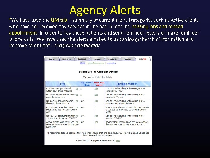 """Agency Alerts """"We have used the QM tab - summary of current alerts (categories"""