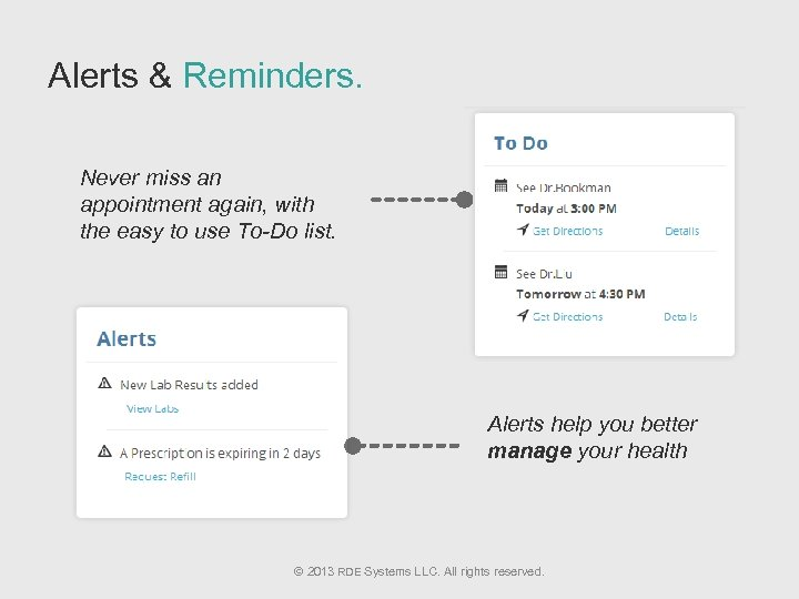 Alerts & Reminders. Never miss an appointment again, with the easy to use To-Do
