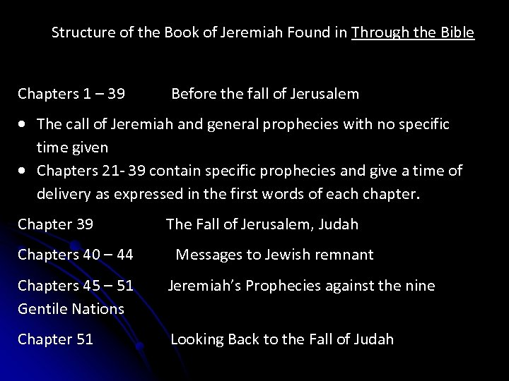 Structure of the Book of Jeremiah Found in Through the Bible Chapters 1 –