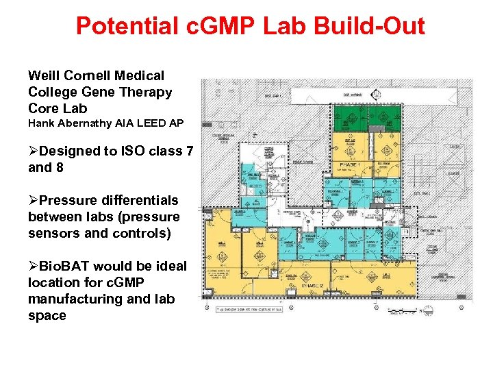 Potential c. GMP Lab Build-Out Weill Cornell Medical College Gene Therapy Core Lab Hank