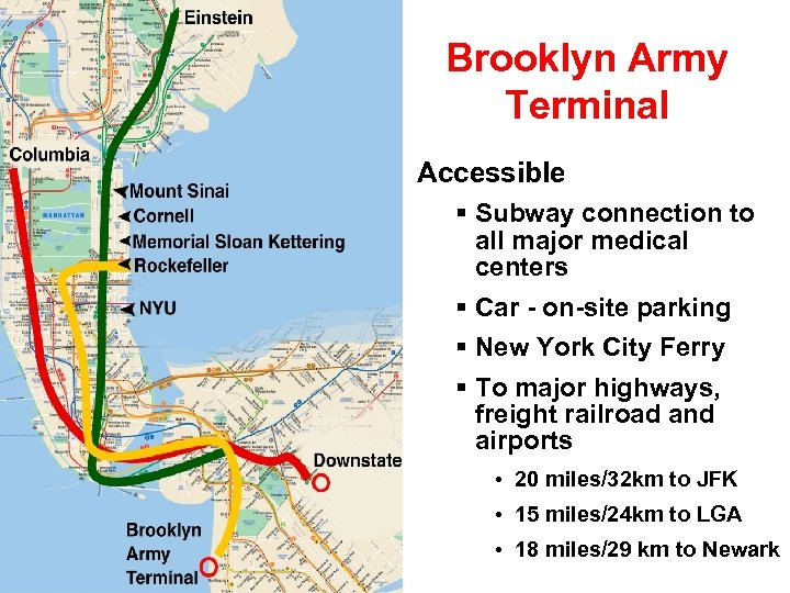 Brooklyn Army Terminal Accessible Subway connection to all major medical centers Car - on-site