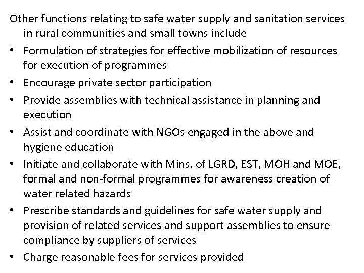 Other functions relating to safe water supply and sanitation services in rural communities and