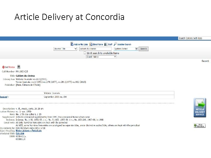 Article Delivery at Concordia