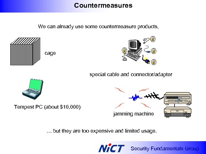 Countermeasures We can already use some countermeasure products, cage special cable and connector/adapter Tempest