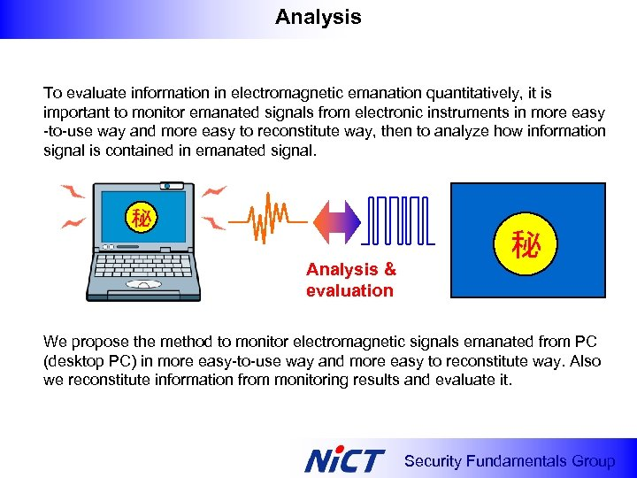 Analysis To evaluate information in electromagnetic emanation quantitatively, it is important to monitor emanated