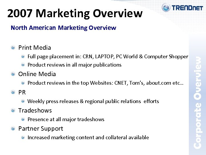 2007 Marketing Overview Print Media Corporate Overview North American Marketing Overview Full page placement