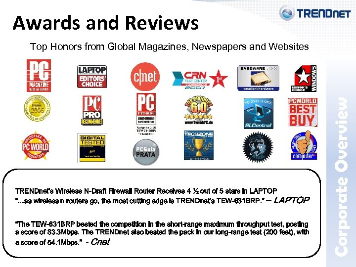 Awards and Reviews Corporate Overview Top Honors from Global Magazines, Newspapers and Websites TRENDnet's