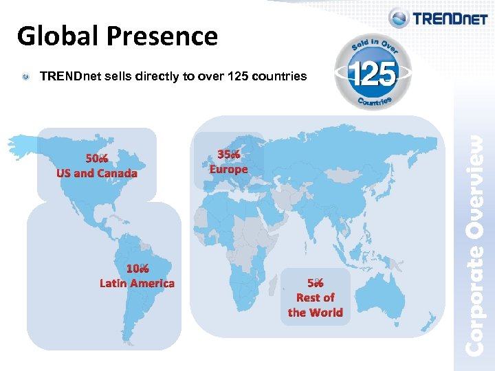 TRENDnet sells directly to over 125 countries 50% US and Canada 10% Latin America