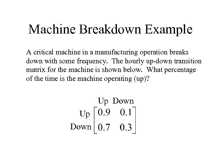Machine Breakdown Example A critical machine in a manufacturing operation breaks down with some