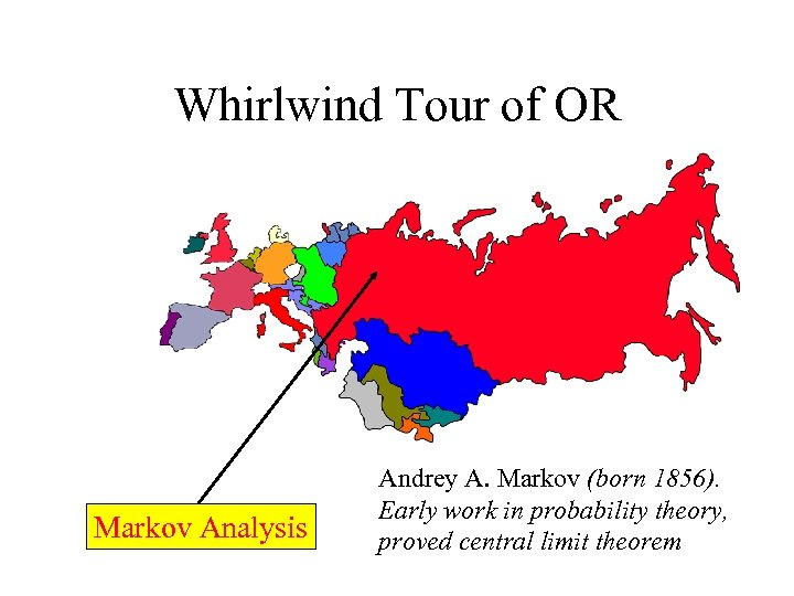 Whirlwind Tour of OR Markov Analysis Andrey A. Markov (born 1856). Early work in