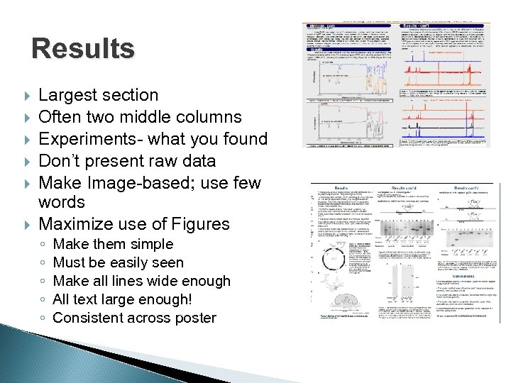 Results Largest section Often two middle columns Experiments- what you found Don't present raw