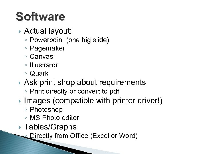 Software Actual layout: ◦ ◦ ◦ Powerpoint (one big slide) Pagemaker Canvas Illustrator Quark