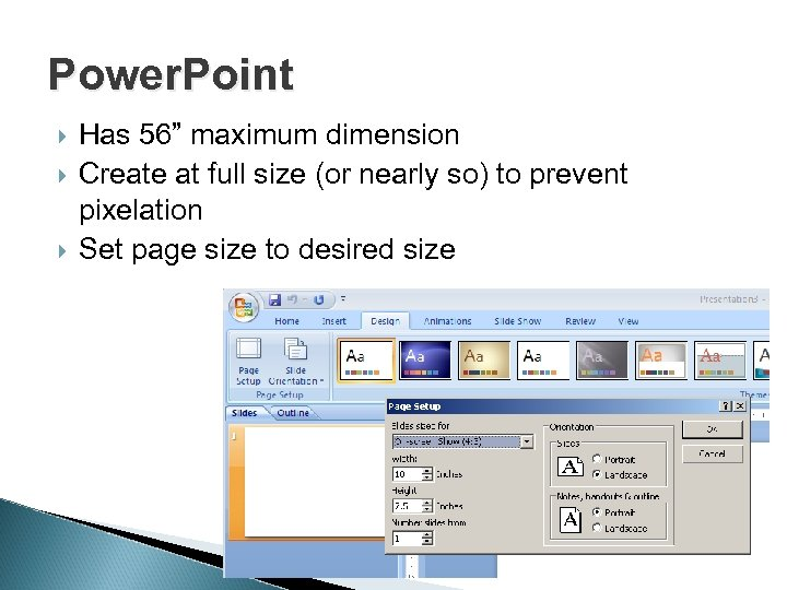 """Power. Point Has 56"""" maximum dimension Create at full size (or nearly so) to"""