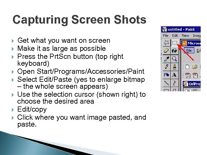 Capturing Screen Shots Get what you want on screen Make it as large as