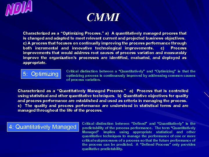 """CMMI Characterized as a """"Optimizing Process. """" a) A quantitatively managed process that is"""