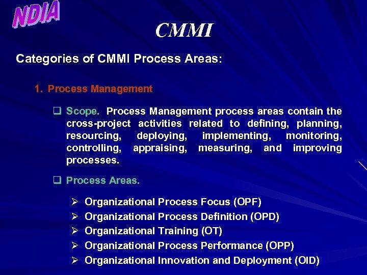 CMMI Categories of CMMI Process Areas: 1. Process Management q Scope. Process Management process