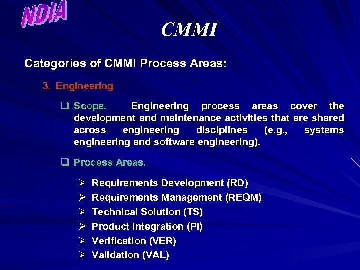 CMMI Categories of CMMI Process Areas: 3. Engineering q Scope. Engineering process areas cover