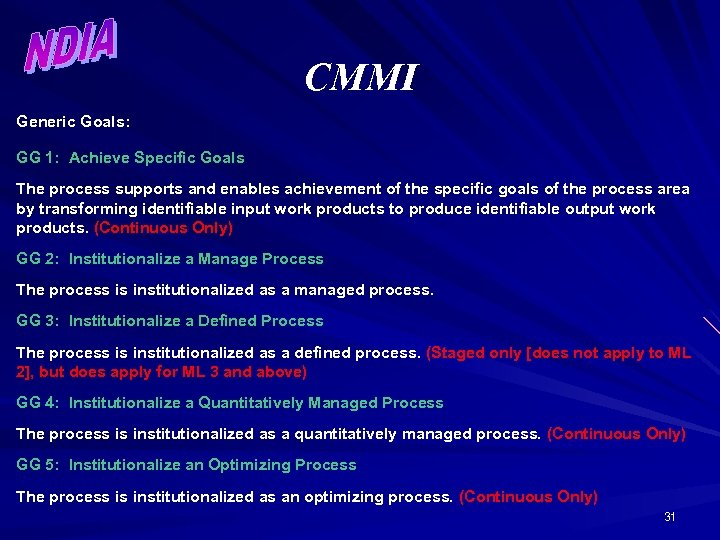 CMMI Generic Goals: GG 1: Achieve Specific Goals The process supports and enables achievement