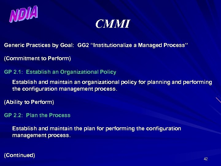 """CMMI Generic Practices by Goal: GG 2 """"Institutionalize a Managed Process"""" (Commitment to Perform)"""