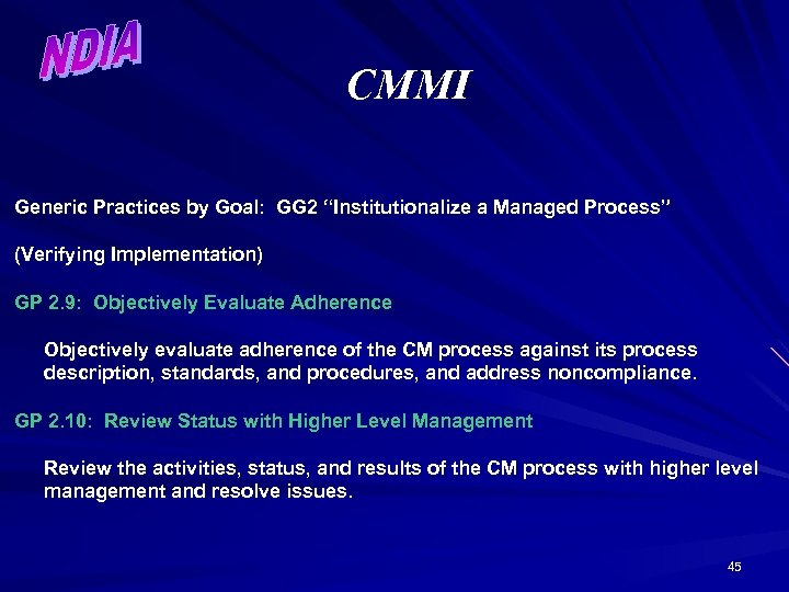 """CMMI Generic Practices by Goal: GG 2 """"Institutionalize a Managed Process"""" (Verifying Implementation) GP"""