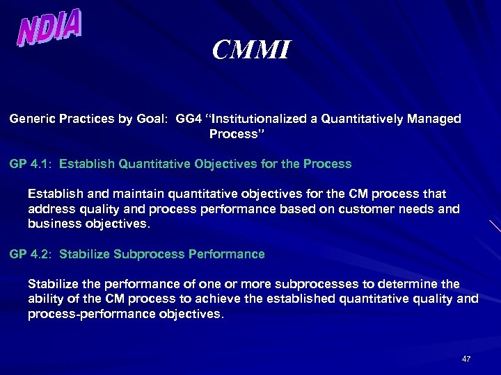 """CMMI Generic Practices by Goal: GG 4 """"Institutionalized a Quantitatively Managed Process"""" GP 4."""