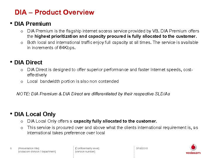 DIA – Product Overview • DIA Premium o DIA Premium is the flagship internet