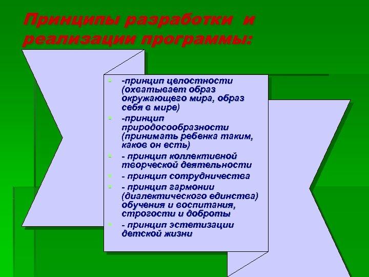 Принципы разработки и реализации программы: § -принцип целостности (охватывает образ окружающего мира, образ себя